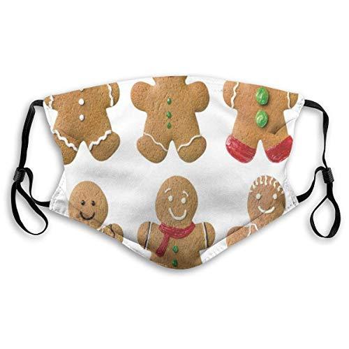 Winddichte Maske, lebendige hausgemachte Kekse Zuckerhaltige Weihnachtsleckereien Süßes leckeres Gebäck, Bedruckte Gesichtsdekorationen für Erwachsene Kinder M.