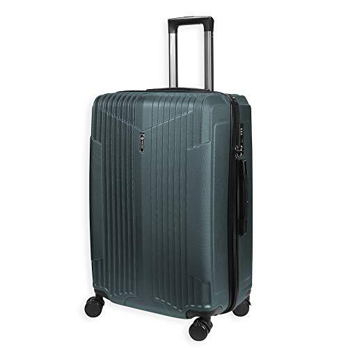Lightweight 4 Wheel Hard Shell Luggage Suitcase Medium Travel Bag TSA Lock- LC007 (25' Medium (70 x 46 x 26 cm), Midnight Green)