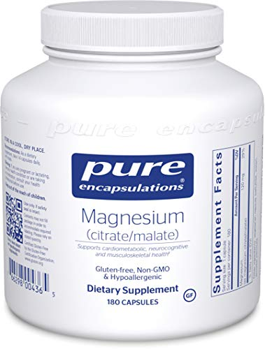 Pure Encapsulations - Magnesium (Citrate/Malate) - Hypoallergenic Supplement Supports Nutrient Utilization and Physiological Functions - 180 Capsules