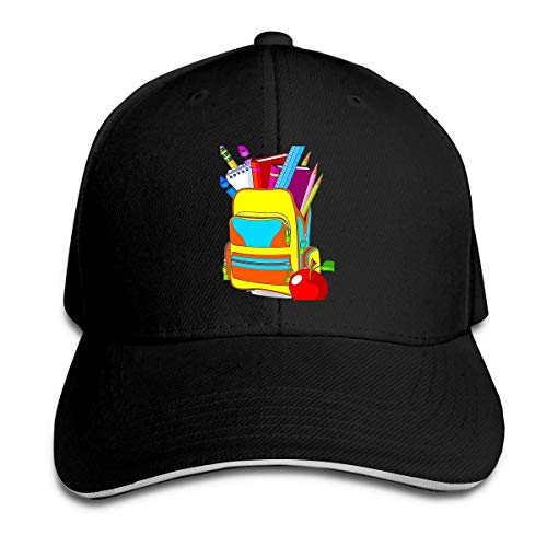 newbilly Unisex Adjustable 3D Printing Sandwich Baseball Cap Trucker hat Casual hat School Backpack Black