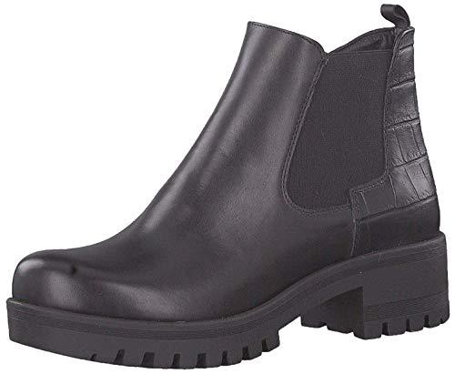 Tamaris Donna Stivaletti Pelle Papaw Chealsea Boots 25435 Neri, Schuhe Damen:40
