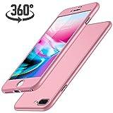 Luckydeer Coque iPhone 7 Plus et en Verre Trempé, Rose Gold (5,5 Pouces)