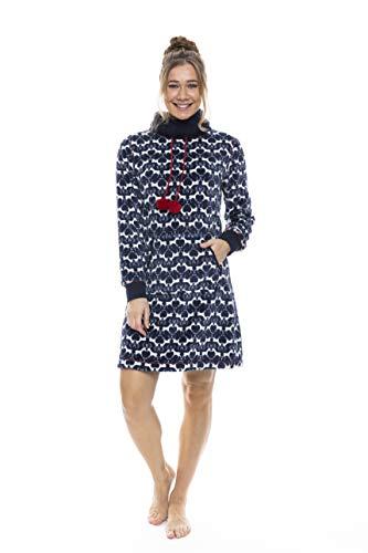Pastunette Rebelle Dames Donker Blauw Zacht Fleece Nachtkleding met Kerstmis Rendier Ontwerp