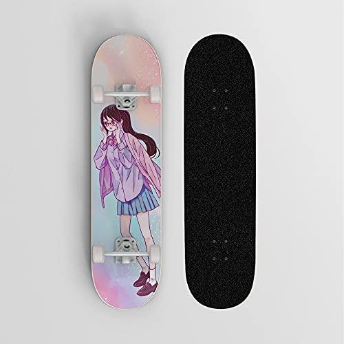 XFLYX One Piece Tashigi Campus Rainbow Anime Skateboard, Mini Cruiser, Monopatín de Arce de 7 Capas, Rodamiento de Carga 100 kg, Principiante Scooter de Calle