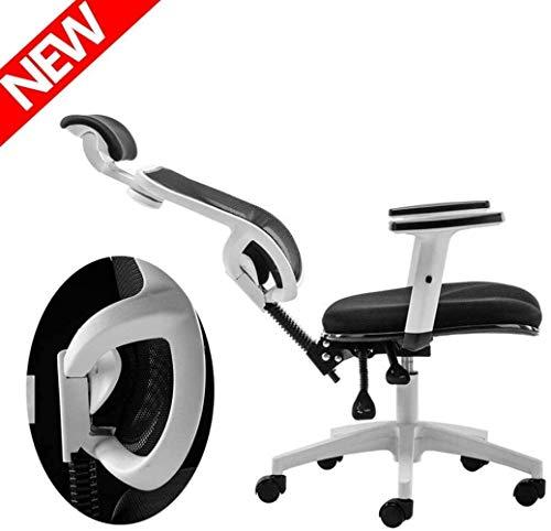 Silla de Oficina Ordenador Silla de oficina, juegos Silla, Silla de oficina, silla ajustable giratorio de tareas apoyabrazos, altura ajustable, 360 ° Giro suave asiento de malla ( Color : White )