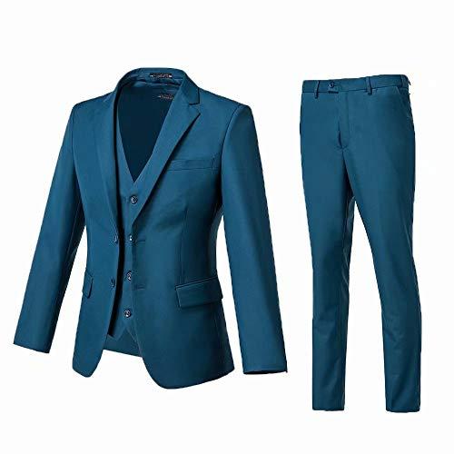 High-End Suits 3 Pieces Suit Men Slim Fit Wedding Suit for Men Two Buttons Blazer Tux Vest & Trousers Lake Blue
