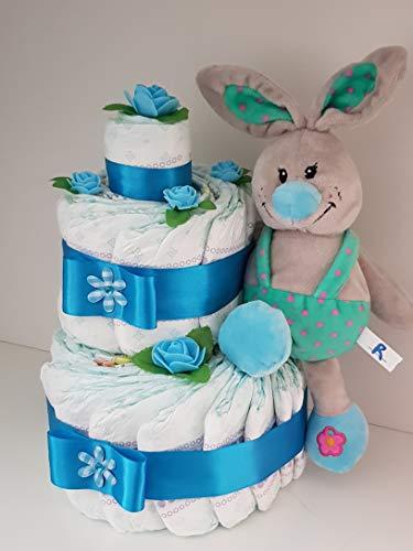 Windeltorte blau, Geburt, Taufe, Geschenk für Jungen, Baby Party, Pampers Gr.3, Plüsch Hase