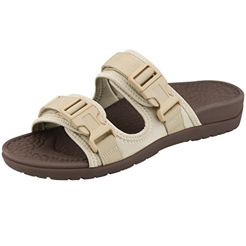 Everhealth Orthotic Sandals Unisex Buckle Slides with Arch Support for Plantar Fasciitis (Cream Beige 39EU)