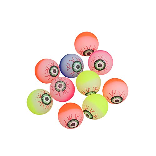 Toyvian 10pcs Halloween Eyeballs, Glow in the Dark, 32mm Scary Bouncy Balls (Color aleatorio)