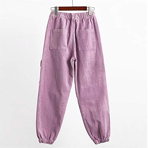 YooSz Cargo-Jeans Frauen-Jeans Femme Wide Leg Mit Hohen Taille Mom Vintage-Baggy Zerrissenen Jeans-Rosa Jeans Frauen Gebleichte Baumwolle (Color : Purple, Size : XL)