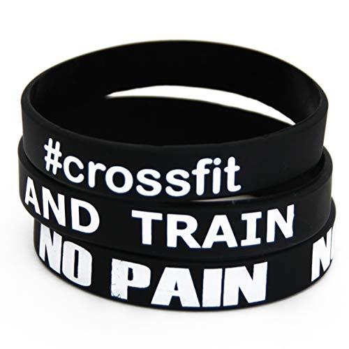 Fitness y culturismo 3 pulseras 'No Pain No Gain' '#Crossfit' 'Cállate y entrena' Entrenamiento Deporte Entrenamiento Fitness Studio Gimnasio Accesorios de estilo de vida Goma de silicona Unisex