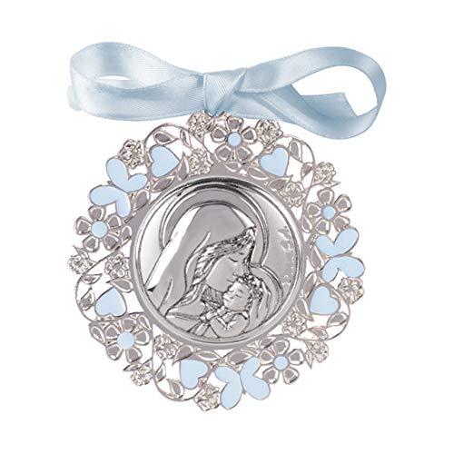 DOCOLASTRA Medalla de cuna ó cochecito de Virgen con niño en Plata bilaminada y esmalte de color azul o rosa.PERSONALIZABLE