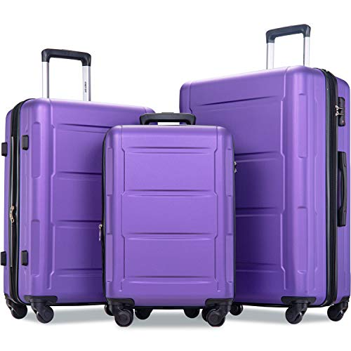 Merax Luggage Set with TSA Lock, All Expandable 3 Piece Hardshell Lightweight Suitcase Set 20inch 24inch 28inch (Purple)