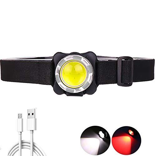 Lampada frontale COB ricaricabile USB, lampada frontale a LED da 3000 lumen con torcia frontale impermeabile a luce rossa 3 modalità Faro con batteria incorporata per riparazioni auto da campeggio