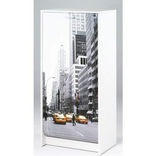 SIMMOB Meuble à Chaussures Blanc Imprimé - Coloris - Scene New York 504, Bois