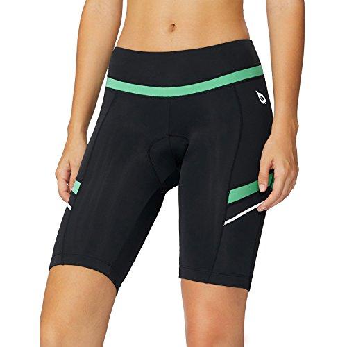 BALEAF Women's Bike Shorts 3D Gel Padded High Waist Cycling Biking Bicycle Cycle Biker Shorts Breathable UPF 50+ Black Green XL