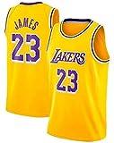 Shelfin Men's Basketball Jerseys LeBron James Lakers No.23 Jerseys, Sportswear, Unisex Sleeveless T-Shirts Embroidered Mesh Basketball Swingman Jerseys (Color : Yellow, Size : Large)