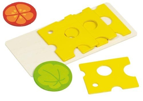 goki 51811 - Kaufläden und Zubehör - Käseaufschnitt 4 Scheiben, 1 Salatblatt, 1 Tomate
