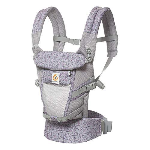 Ergobaby Babytrage ab Geburt 0 Monate, Adapt 3-Positionen Trage, French Bull - Flores, Bauch- Rückentrage Kinder bis 20 kg