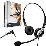 GEQUDIO Headset mit 3,5mm Klinke geeignet für FritzFon C6, MacBook, Smartphone, Handy, Notebook, PC, Laptop I Kopfhörer und Mikrofon mit Ersatz Polster I 80g leicht