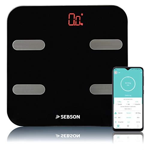 SEBSON Pèse Personne Impédancemètre Connecté Bluetooth, Analyse Corporelle - Poids, IMC, Muscles, Graisse, etc (11 valeurs) - Balance Personnelle 180kg, 300x300x26mm