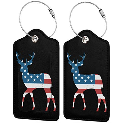 Deer Antlers American Flag USA Hunting Fishing Leather Travel Luggage Tag With Privacy Cover Set Of 1/2/4 Pcs