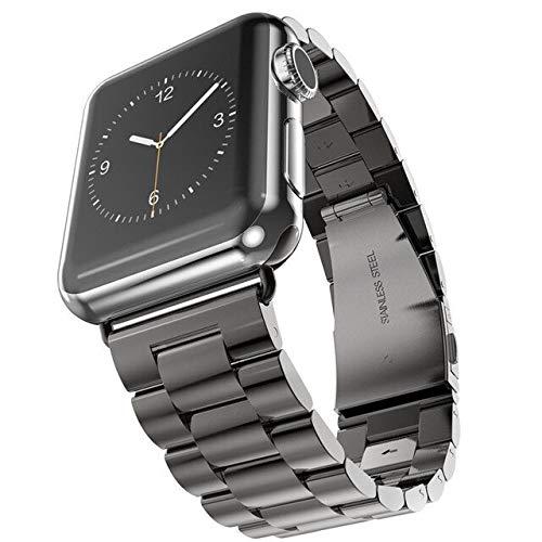 Hspcam Correa de pulsera para Apple Watch Series 6, 5, 4, 3, 2, 44, 42 mm, acero inoxidable, color negro, para iWatch Band 38 mm, 40 mm (42 y 44 mm), color negro