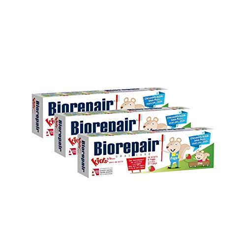 Biorepair, Zahnpasta Kids 0-6 Jahre, Zahnpasta für Kinder, ohne Fluor, Geschmack, Antikarie, für Genive Sesunde, 3 Stück