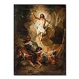 YYAYA.DS Cuadro de Lienzo Impresiones HD decoración del hogar resurrección de Jesús Lienzo póster Pintura Cristiana Arte de Pared Imagen Religiosa 60x90cm