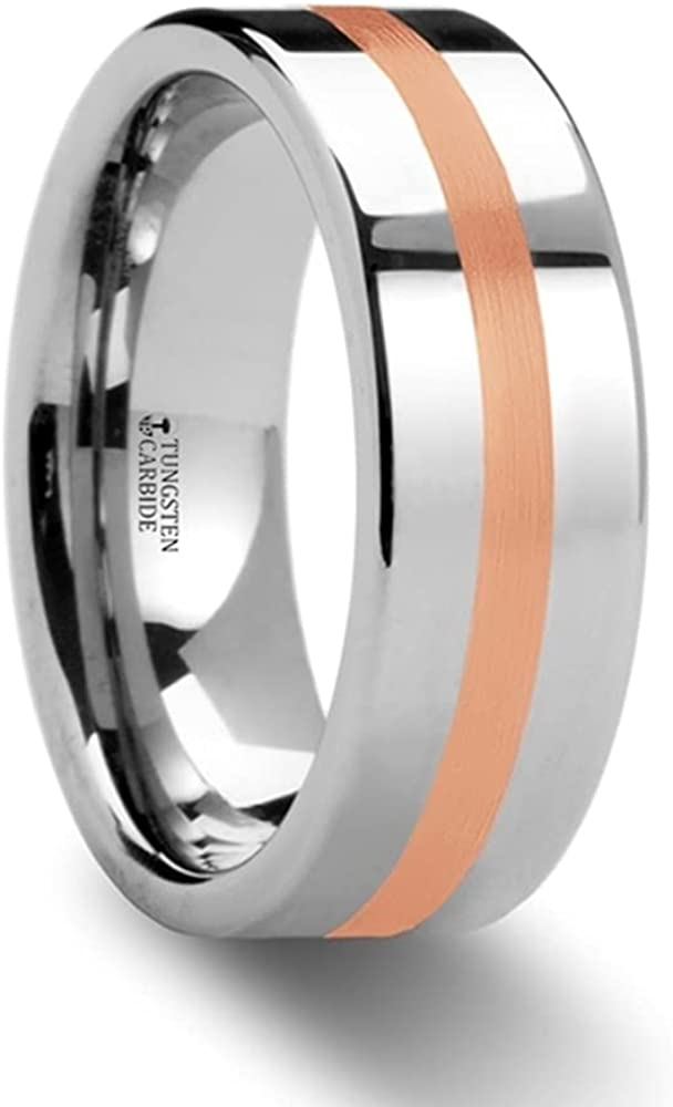 Mens Comfort Fit -Rose Gold Inlaid Flat Tungsten Carbide Wedding Ring - 6mm 8mm Wide - Style name: CERBERUS