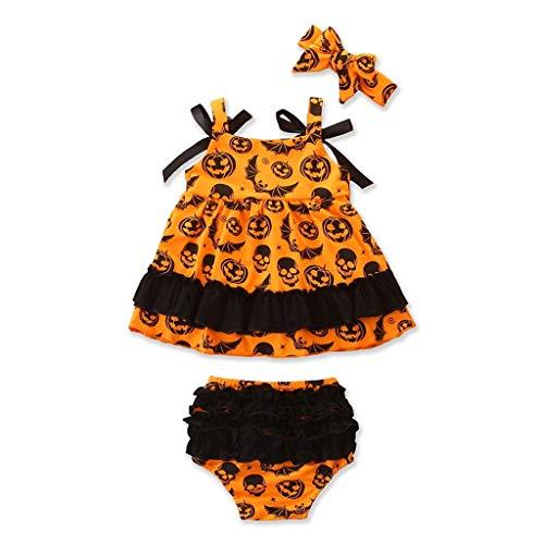 Baiomawzh Ropa Halloween Bebe Niñas Traje de bebé Diablo Impresión Calabaza Vestir +Pantalones Cortos + Tocado Conjunto de Trajes,12-24 Meses