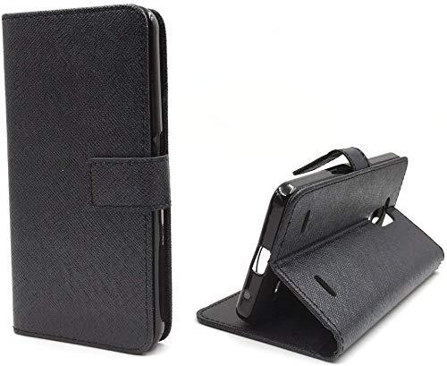 König Design Handyhülle Kompatibel mit ZTE Blade V7 Lite Handytasche Schutzhülle Tasche Flip Hülle mit Kreditkartenfächern - Onyx Schwarz