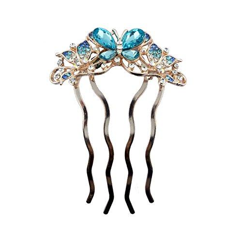 HAND élégant Couleur Or pâle Peigne Barrette avec Couleur Cristal Flower Cluster - Design C