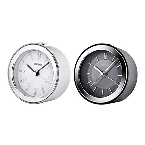 ZRL Despertadores Reloj de Alarma Analógico Silencioso Classic Roman Dial Reloj de Alarma Snooze y Funciones de Luz para la Oficina de Dormitorio Alarm Clock (Color : Black+Silver)