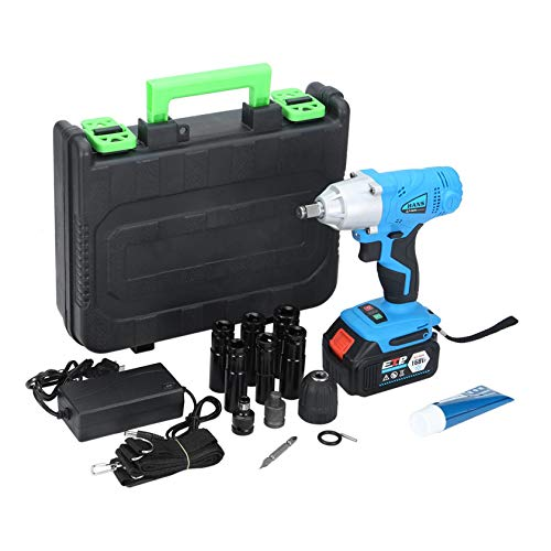 1/2'' Electric Brushless Cordless Impact Wrench Drill High Torque Tool (Blue)