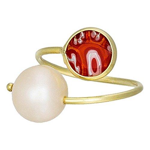 Córdoba Jewels | Anillo en Plata de Ley 925 bañada en Oro. Diseño Tú y Yo Murano Rubí Perla de Cultivo Natural Oro