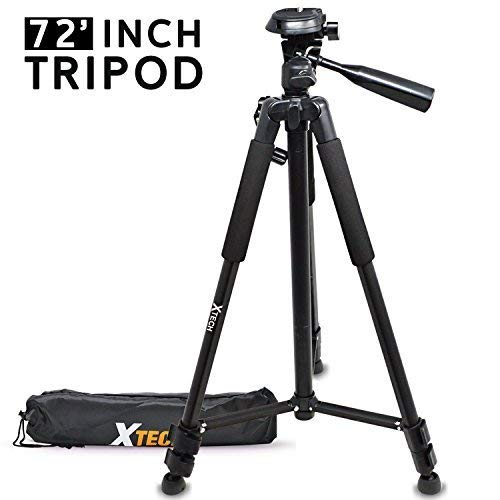 Xtech Pro Series 72' inch Tripod with Carrying Case, 3 Way Pan-Head for Canon, Nikon, Olympus, Sony, Fuji, Samsung, Panasonic, Pentax and Other Similar Digital Cameras and Camcorders