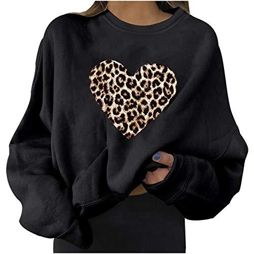 Sudadera a la moda para mujer, con estampado de corazón, blusa de San Valentín, manga larga, cuello redondo, camiseta sólida, jersey de talla grande (opción de 4 colores)