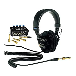 Sony MDR7506 Folding Professional Closed Ear Headphones with Knox Gear Compact 4-Channel Stereo Headphone Amplifier…