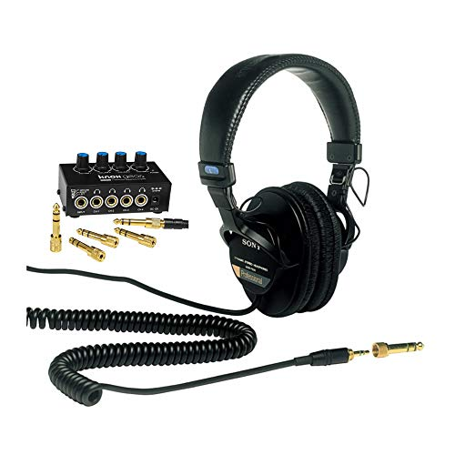 Sony MDR7506 Folding Professional Closed Ear Headphones with Knox Gear Compact 4-Channel Stereo Headphone Amplifier Bundle (2 Items)