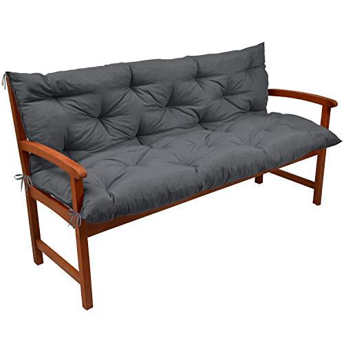 Beautissu Coussin pour Banc de Jardin, terrasse, Balcon Flair BR - balancelle - Banquette - Assise Confortable - 120x100x10cm - Graphite Gris