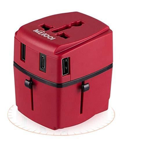 Adaptador de viaje, Milool Cargador 3 Puertos USB Y Tipo-C , Adaptador Enchufe Viaje Universal Con Fusible de Corriente 8A y 3A para EU, USA, AU, Ingles, AUS y más de 150 países (rojo)