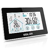 BALDR Wetterstation, Digitale Thermometer-Hygrometer mit Funk-Außensensor für innen/außen, Lüftungsempfehlung, Uhrzeit Anzeige und Niedrigbatteriestandsanzeige