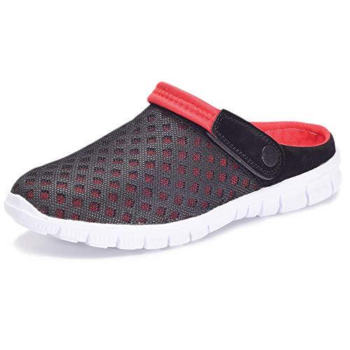 BYASW Unisex Hombres Mujeres Zuecos Zapatillas de Playa Respirable Malla Ahueca hacia Fuera Las Sandalias Zapatos,Rojo,36