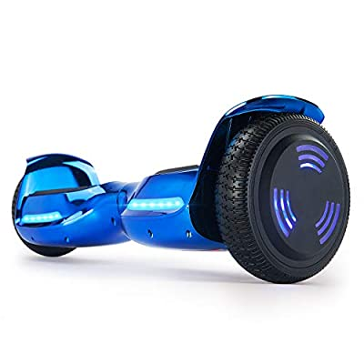 XPRIT 6.5'' Self Balancing Hoverboard w/Wireless Speaker, Chrome Finish, Flashing Wheel (Chrome Blue)