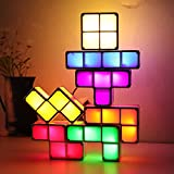 Tangram Stackable Night Light, AVEKI LED 7 Colors Induction Interlocking Desk Lamp 3D DIY Magic Blocks Puzzles Lamp for Kids Teens Bedroom Home Decor Ideal Gift for Birthday (Creative Light-7)