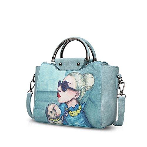 NICOLE & DORIS Bolsos de mujer Bolsos de Mano Elegante Bolsos de hombro con asa superior de diseño Bolso bandolera para mujer Bolso de cuero PU Azul claro