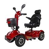 Carrito de Movilidad Reducida 1000 W, 4 ruedas, Personas Mayores, Minusválidos, Rojo