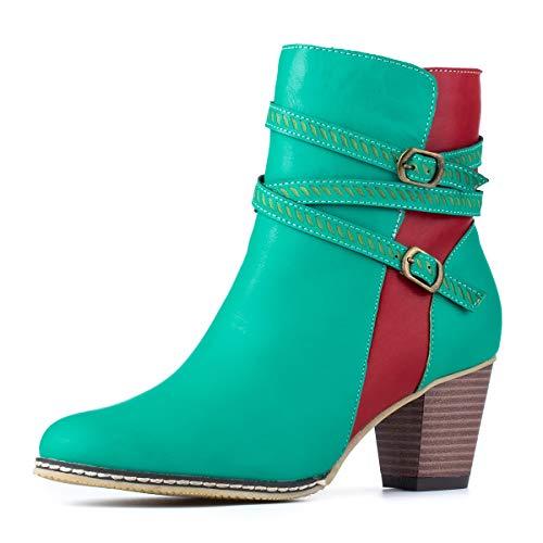 gracosy Stiefeletten Damen 2019 PU Leder Winterstiefel Bequem Winterschuhe Kurze Stiefel mit Absatz Elegante Damenschuhe Reißverschluss Schnalle Winter Schuhe Mode Party Schuhe für Frauen