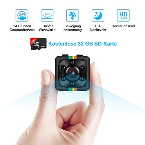 Binken Mini Kamera, Mini Cam Kamera Full HD 1080P Tragbare Überwachungskamera Kleine Nachtsicht und 32G SD Card für Zuhause Büro Garten Garage Indoor Outdoor Kamera (Kostenlose 32 GB SD-Karte)